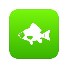 Fish icon digital green for any design isolated on white vector illustration