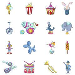 Circus fun show icons set. Cartoon illustration of 16 circus fun show vector icons for web