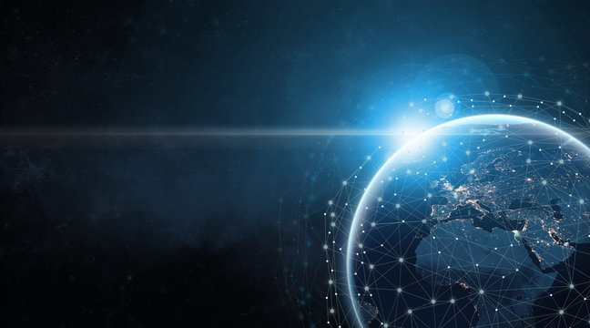 Global communication network concept network dots surrounding planet earth with focus on America. Information exchange via satellites.