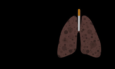 stop smoking concept, cigarette and lung of smoker full of black dots, illustration