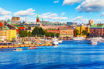 Scenic summer panorama of Stockholm, Sweden