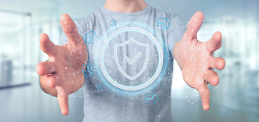 Man holding a Shield web security concept 3d rendering