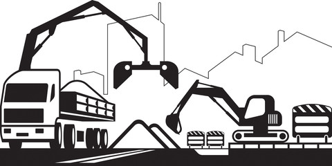 Truck crane and excavator repair a street - vector illustration