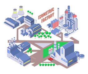 Set of four vector isometric industrial building, energy and chemical plant and other factories