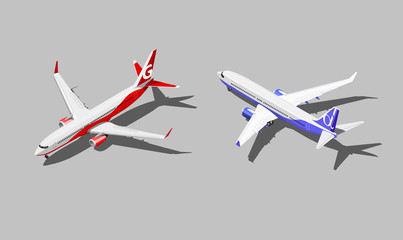 Vector isometric passenger jet in two different color scheme