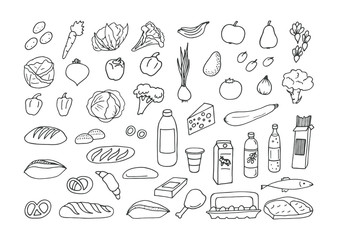 Sketches from groceries products on white background. Vector illustration.