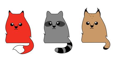 Cute forest animals: a fox, raccoon, and bobcat. A set of cartoon characters, logo, icons.
