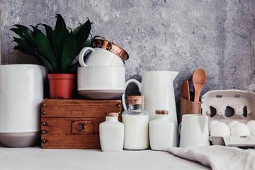 rustic kitchen interior, kitchen utensils and white dishware