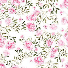 Seamless pattern with watercolor  roses flowers.