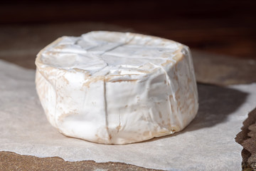 white cheese with mold on stones texture, close up, Italian, French cheese