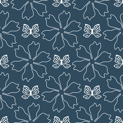 Repeated outlines of flowers and butterflies drawn by hand. Feminine seamless pattern.
