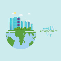 Happy World Environment Day postcard with green city background, wind turbine.