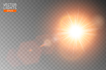 Vector transparent sunlight special lens flare. Abstract sun flash rays and spotlight. Golden front translucent special light effect design. Isolated background. Decor element. Horizontal star burst.