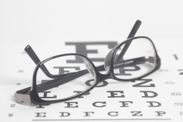 Eyeglasses on eyesight test chart background