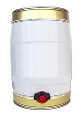 Small individual gold and white colored metal beer keg with tap. Isolated.