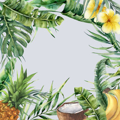 Watercolor tropical frame with exotic branch. Hand painted floral illustration with banana and coconut palm leaves, plumeria, pineapple isolated on blue background for design, fabric or print.