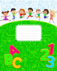 School notebook with cute funny kids jumping