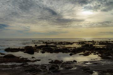 Autocollant pour porte La Mer du Nord F, Bretagne, Finistère, Küstenlandschaft an der Pointe de Penmarch, Abendstimmung am Meer