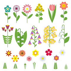 Set of wildflowers icons. Objects isolated on a white background.