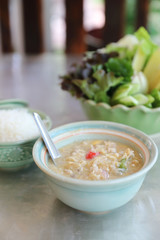 Herbed Soya Beans with Minced Pork in Coconut Milk with Fresh Vegetables , Traditional thai food