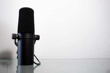Sound studio. Microphone in close-up, Microphone isolated on white background
