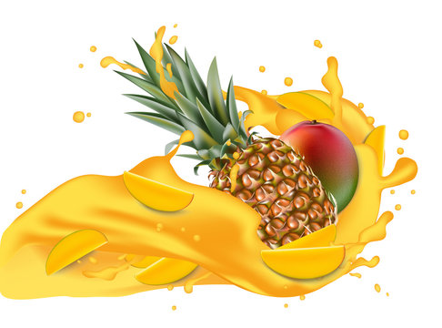 Splash of ananas juice. Mango and pineapple. 3d realistic vector EPS 10. Packaging template. Brand advertising. Mango slices flowing