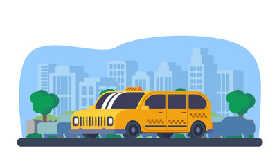 Taxi cab in city.