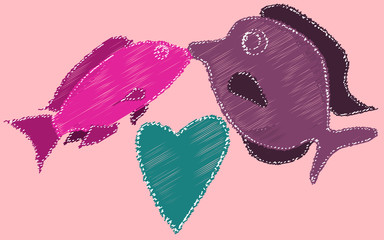 Kissing fish and heart painted with dashed lines. Two fish kiss on a pink background.  illustration
