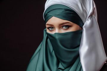 inner beauty. modest mahametan is hiding her face.Muslim style