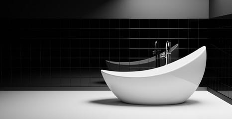 Minimalistisches schwarz-weißes Badezimmer