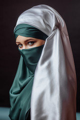 close up portrait of attractive eastern woman. strict Muslim code of behaviour