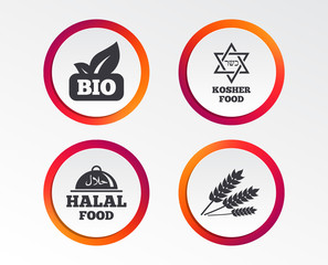 Natural Bio food icons. Halal and Kosher signs. Gluten free and star of David symbols. Infographic design buttons. Circle templates. Vector