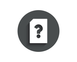 Unknown Document simple icon. File with Question mark sign. Untitled Paper page concept symbol. Circle flat button with shadow. Vector