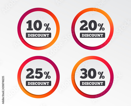 sale discount icons special offer price signs 10 20 25 and 30