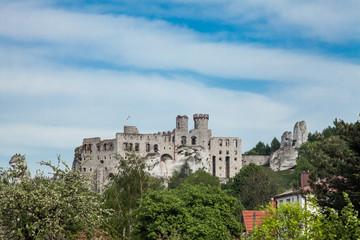 OGRODZIENIEC, PODZAMCZE, 5 MAY, 2018; Ogrodzieniec Castle in the village Podzamcze. Ruins of the castle on the upland, Jura Krakowsko-Czestochowska. The Trail of the Eagle's Nests.