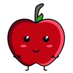Cute apple emoticon