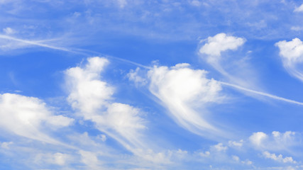 Vivid blue sky background with white clouds