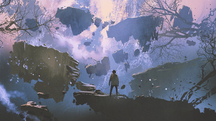 man standing on a rock in the world without gravity, digital art style, illustration painting