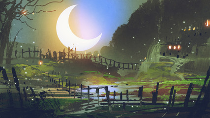 beautiful landscape of garden at night with big crescent moon, digital art style, illustration painting