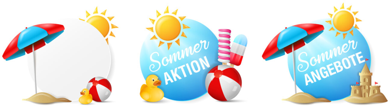 Sommer Aktion Angebot Buttons Set isoliert mit Sonne