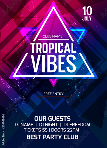 u0026quot tropical vibes party flyer poster  music club flyer
