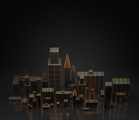 Urban dark abstract background, futuristic city panorama. 3d illustration.