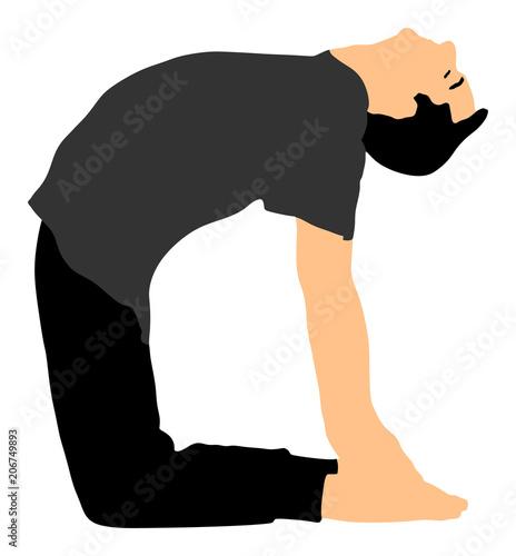 Camel Yoga Pose Vector Silhouette Illustration Isolated On White Background Man Exercises Zen