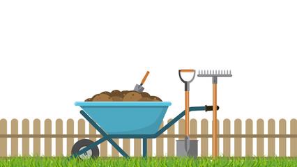 Vector illustration. Garden wheelbarrow with pitchfork and shovel.