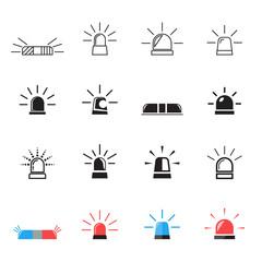 Police, ambulance car light flashing icons