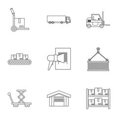 Shipping icons set. Outline illustration of 9 shipping vector icons for web