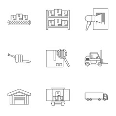 Warehouse icons set. Outline illustration of 9 warehouse vector icons for web