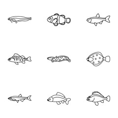 Fish icons set. Outline illustration of 9 fish vector icons for web