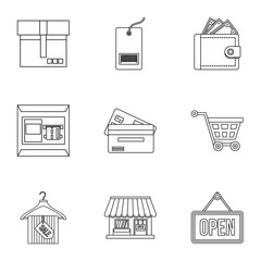 Online shopping icons set. Outline illustration of 9 online shopping vector icons for web
