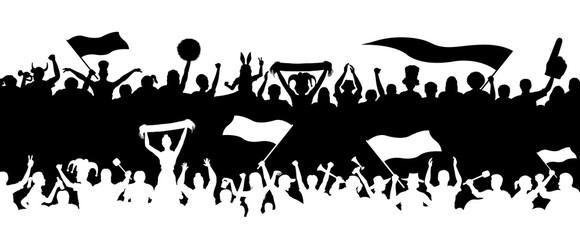 Crowd enthusiastes silhouettes